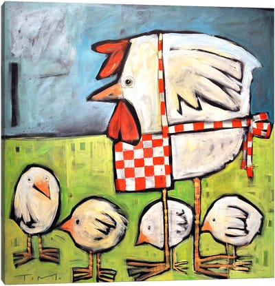 Hen And Chicks After Storm Canvas Art Print