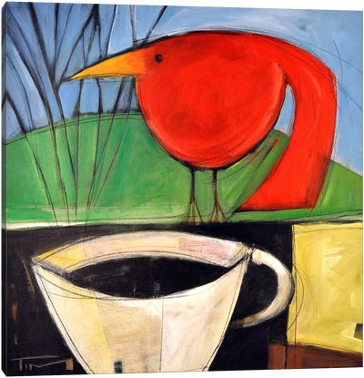 Coffee And Red Bird Canvas Art Print