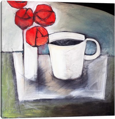 Coffee And Roses Canvas Art Print