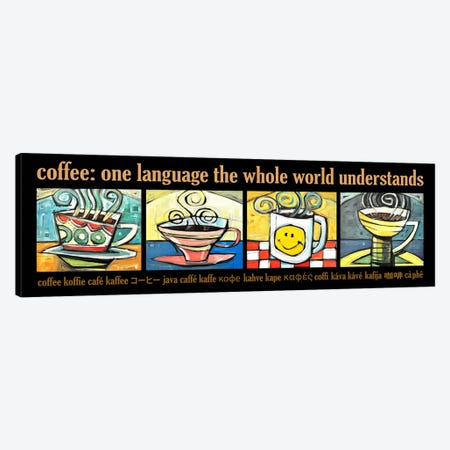 Coffee World Poster Canvas Print #TNG294} by Tim Nyberg Canvas Artwork