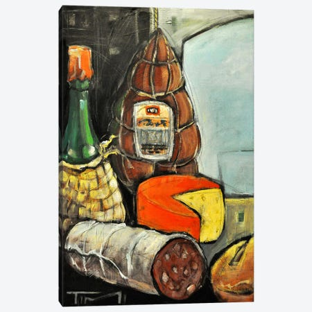 Bottle Of Wine Italian Deli Canvas Print #TNG308} by Tim Nyberg Art Print