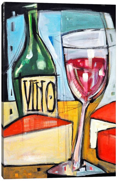 Red Wine And Cheese Canvas Art Print