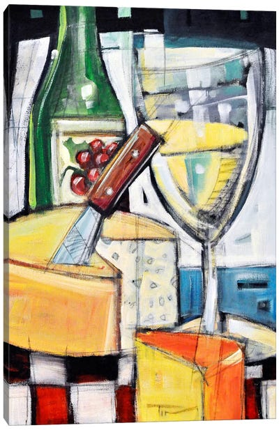 White Wine And Cheese Canvas Art Print