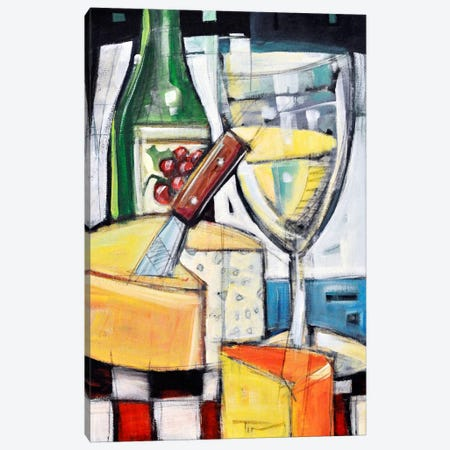 White Wine And Cheese Canvas Print #TNG327} by Tim Nyberg Canvas Artwork