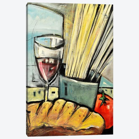 Wine Bread And Pasta Canvas Print #TNG330} by Tim Nyberg Canvas Artwork