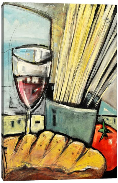Wine Bread And Pasta Canvas Art Print