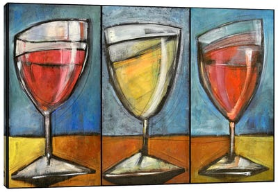 Wine Trio Triptych Canvas Art Print