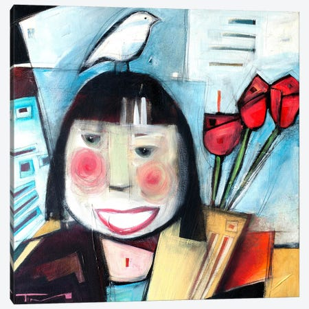 Girl With Flowers And Bird 3-Piece Canvas #TNG57} by Tim Nyberg Canvas Art Print