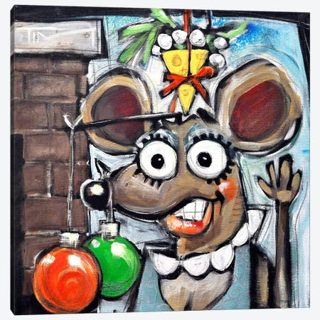 Merry Christmouse Canvas Print #TNG67} by Tim Nyberg Canvas Wall Art