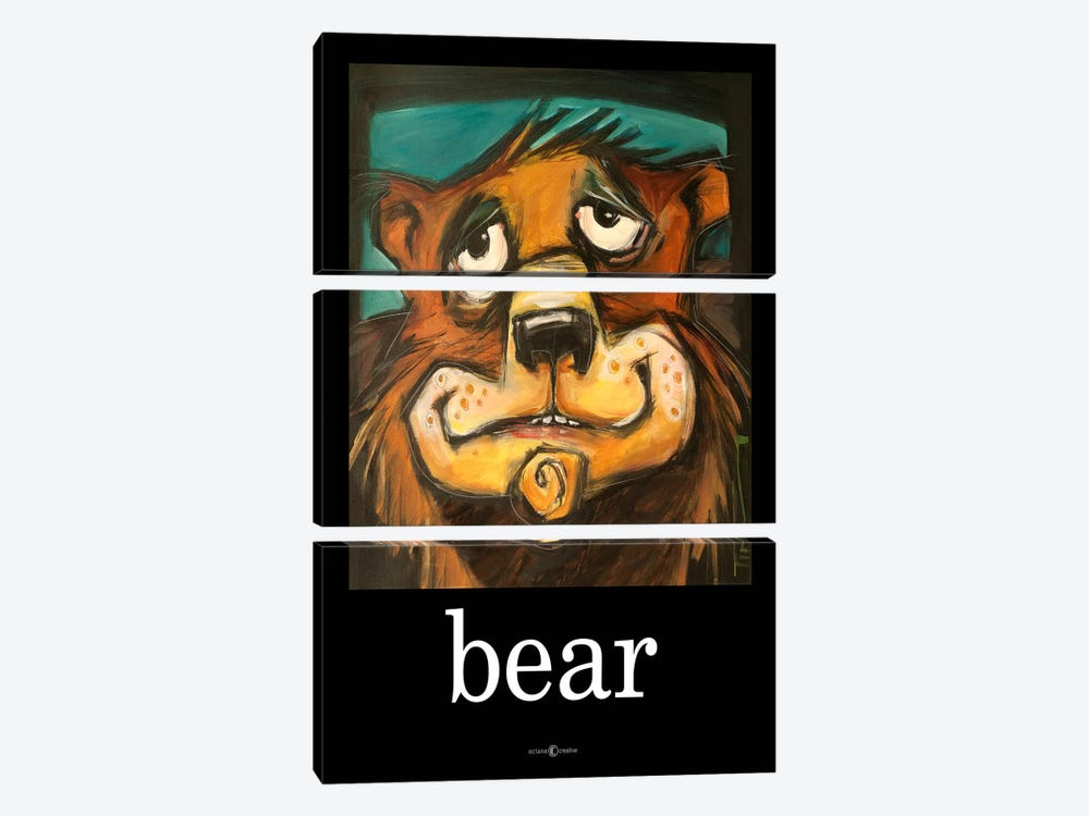 Bear Poster by Tim Nyberg 3-piece Canvas Art Print