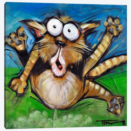 Farting Feline Canvas Print #TNG78} by Tim Nyberg Canvas Art
