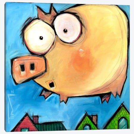 Flying Pig First Flight Canvas Print #TNG81} by Tim Nyberg Canvas Art Print
