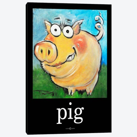 Pig Poster Canvas Print #TNG84} by Tim Nyberg Canvas Wall Art