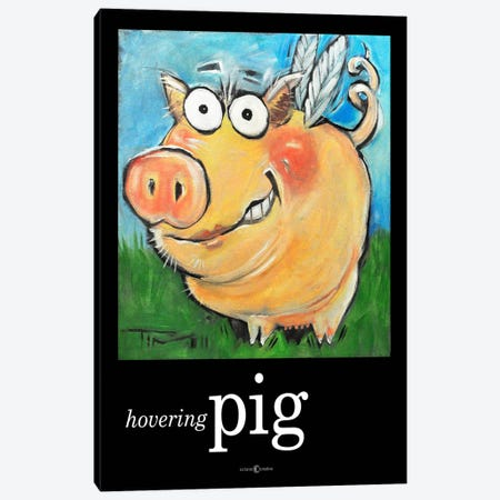 Hovering Pig Canvas Print #TNG89} by Tim Nyberg Art Print