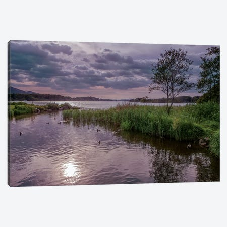 County Kerry. Killarney National Park. Ireland. Sunset Over Lake. Unesco Biosphere Reserve. 3-Piece Canvas #TNO19} by Tom Norring Canvas Art