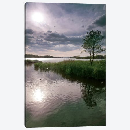 County Kerry. Killarney National Park. Ireland. Sunset Over Lake. Unesco Biosphere Reserve. 3-Piece Canvas #TNO20} by Tom Norring Canvas Print