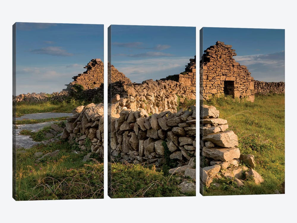 Inishmore Island. Aran Islands. Ireland. Abandoned Homestead. by Tom Norring 3-piece Canvas Print