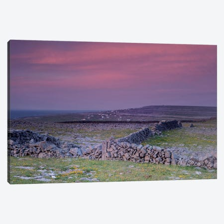 Inishmore Island. Aran Islands. Ireland. Limestone Sea Cliffs. Atlantic Coast. Karst Formations And Rock Walls. Sunset. Canvas Print #TNO28} by Tom Norring Canvas Print