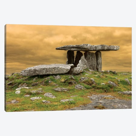 Poulnabrone Dolmen. Burren. County Clare. Ireland. Burren National Park. Poulnabrone Portal Tomb In Karst Landscape. Canvas Print #TNO32} by Tom Norring Canvas Wall Art