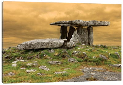 Poulnabrone Dolmen. Burren. County Clare. Ireland. Burren National Park. Poulnabrone Portal Tomb In Karst Landscape. Canvas Art Print