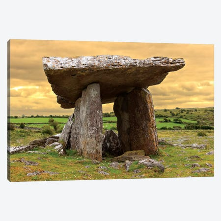 Poulnabrone Dolmen. Burren. County Down. Ireland. Burren National Park. Poulnabrone Portal Tomb In Karst Landscape. Canvas Print #TNO33} by Tom Norring Canvas Wall Art