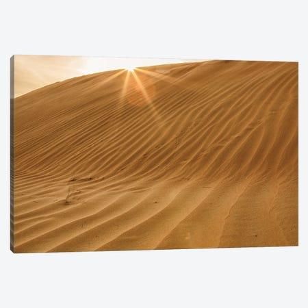 Sunset with Sunburst. Desert with sand. Abu Dhabi, United Arab Emirates. Canvas Print #TNO40} by Tom Norring Canvas Print