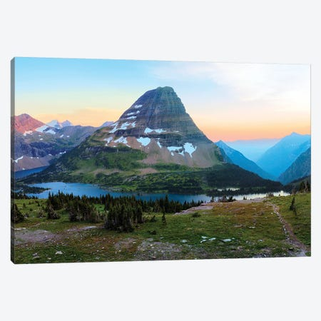 Bearhat Mountain behind Hidden Lake at sunset. Glacier National Park. Montana. Usa. Canvas Print #TNO4} by Tom Norring Canvas Print