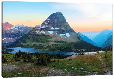 Bearhat Mountain behind Hidden Lake at sunset. Glacier National Park. Montana. Usa. Canvas Art Print