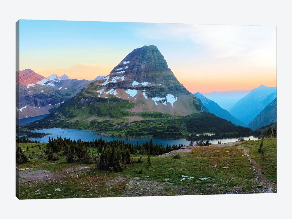 Bearhat Mountain behind Hidden Lake at sunset. Glacier National Park. Montana. Usa. by Tom Norring 1-piece Canvas Art Print