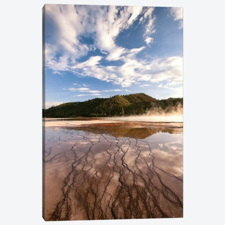 Cloud reflections over chemical Sediments. Yellowstone National Park, Wyoming. Canvas Print #TNO8} by Tom Norring Canvas Wall Art
