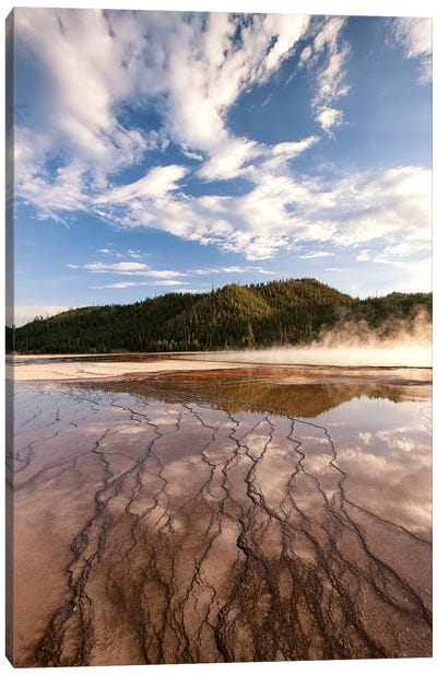 Cloud reflections over chemical Sediments. Yellowstone National Park, Wyoming. Canvas Art Print