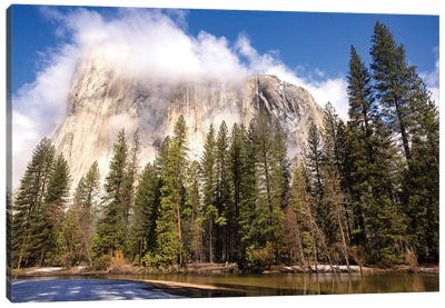 El Capitan seen from Cathedral Beach and Merced River. Yosemite National Park, California. Canvas Art Print