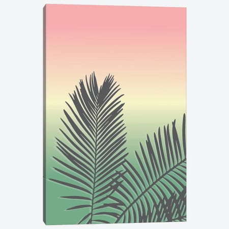 Sunset Palm Leaves Canvas Print #TNS110} by The Native State Canvas Wall Art