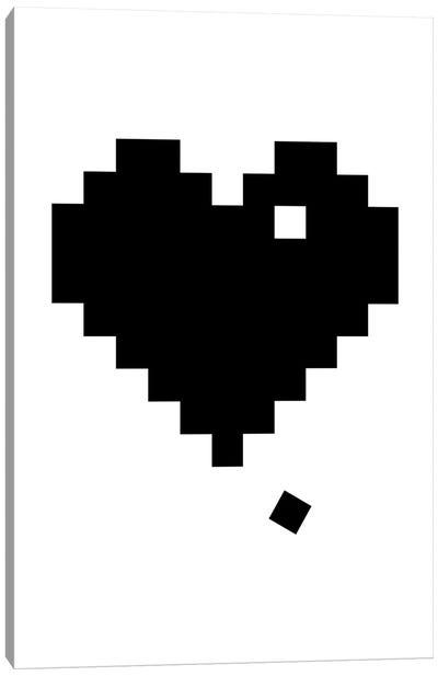 Black Pixel Heart Canvas Art Print