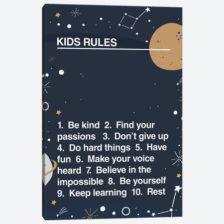 Kids Rules Canvas Print #TNS55} by The Native State Canvas Print