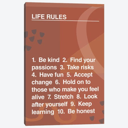 Life Rules Canvas Print #TNS60} by The Native State Canvas Print