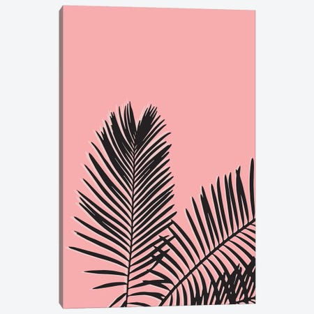 Pink Palm Leaves Canvas Print #TNS88} by The Native State Art Print