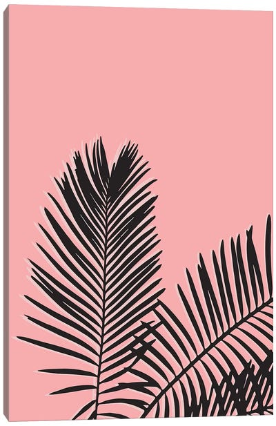 Pink Palm Leaves Canvas Art Print