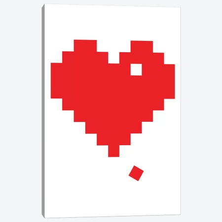 Red Pixel Heart Canvas Print #TNS93} by The Native State Canvas Artwork