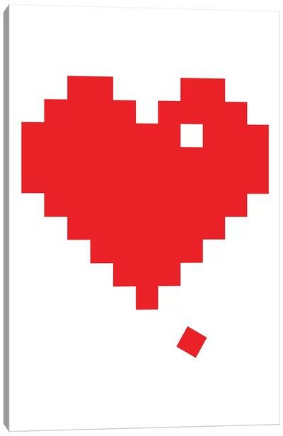 Red Pixel Heart Canvas Art Print