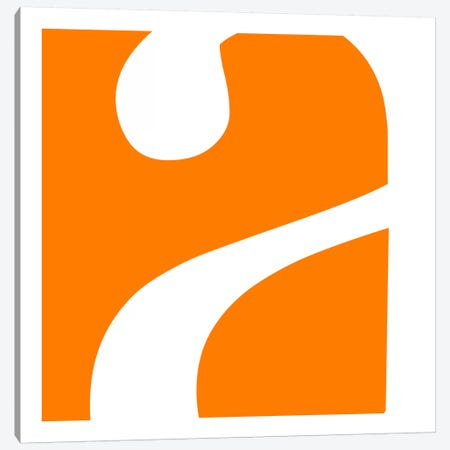 "Lower Case ""A"" in White with Orange Background Canvas Print #TOA200} by 5by5collective Canvas Wall Art"