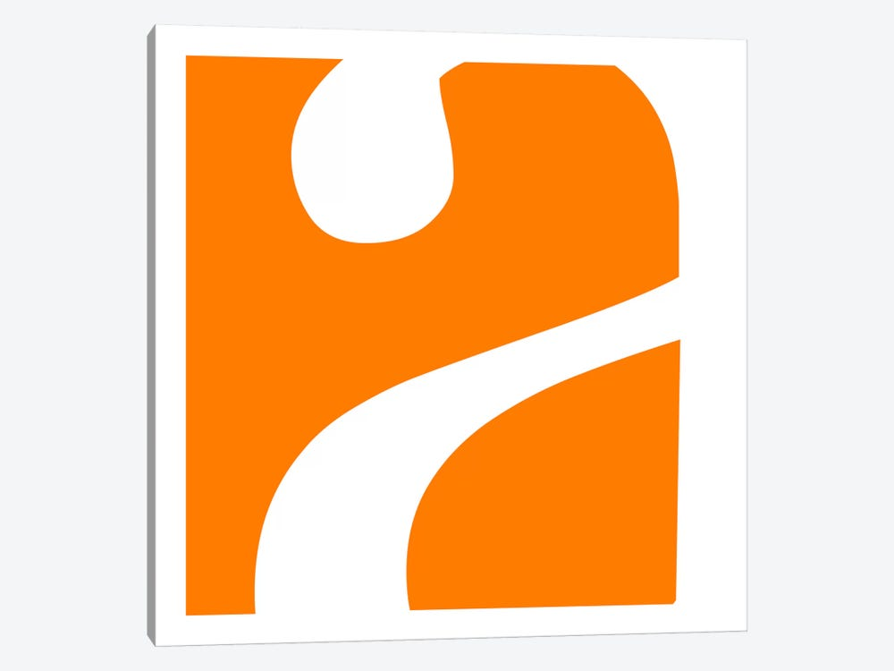 "Lower Case ""A"" in White with Orange Background by 5by5collective 1-piece Canvas Artwork"