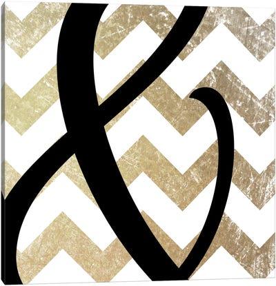 Gold Chevron Ampersand Canvas Art Print