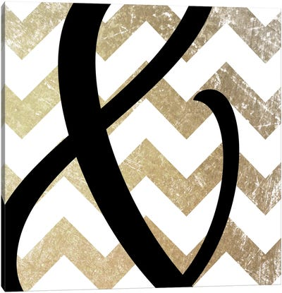 Gold Chevron Ampersand Canvas Art Print