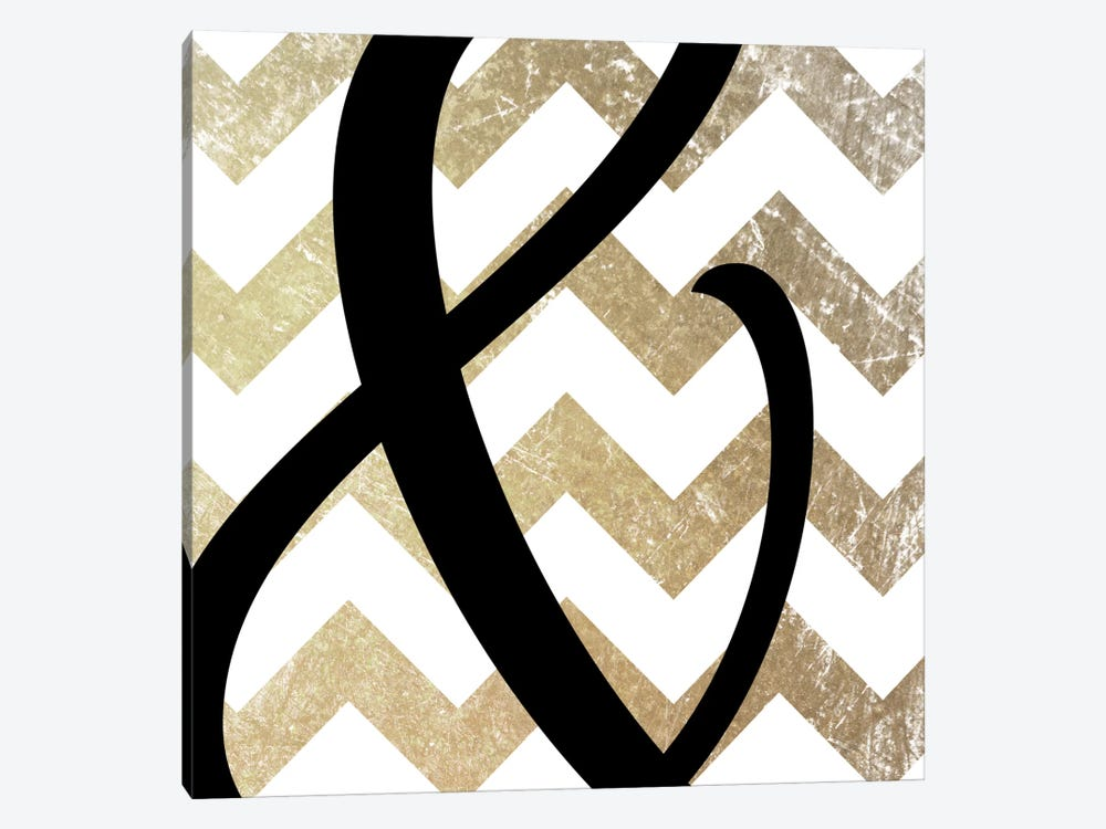 Gold Chevron Ampersand by 5by5collective 1-piece Canvas Artwork