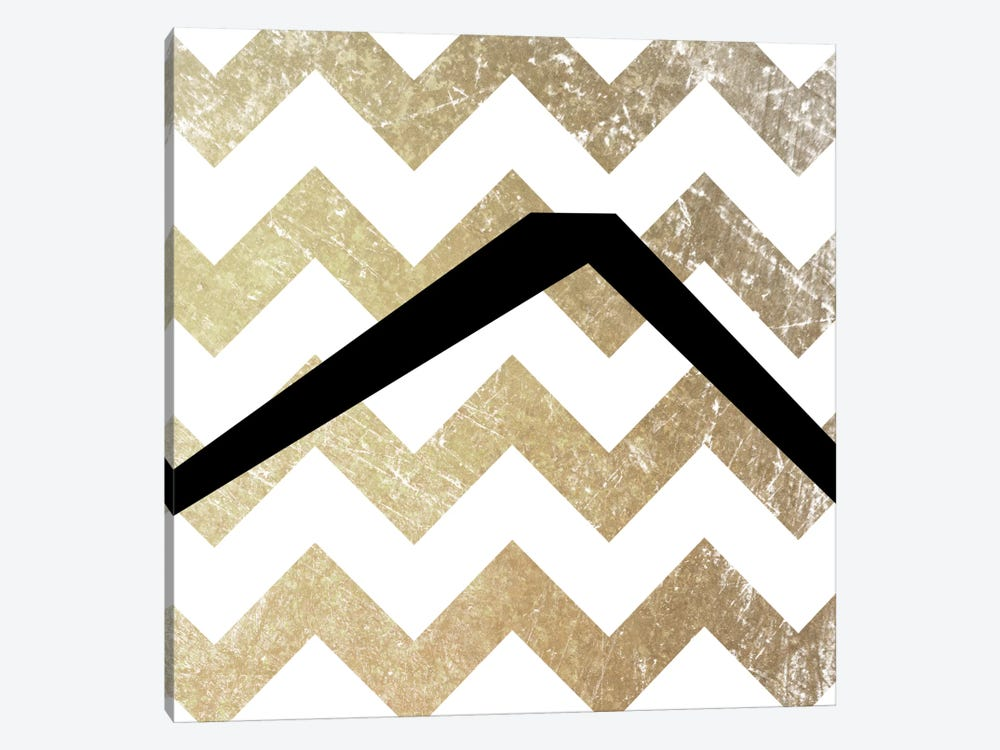 Caret-Bold Gold Chevron by 5by5collective 1-piece Canvas Art