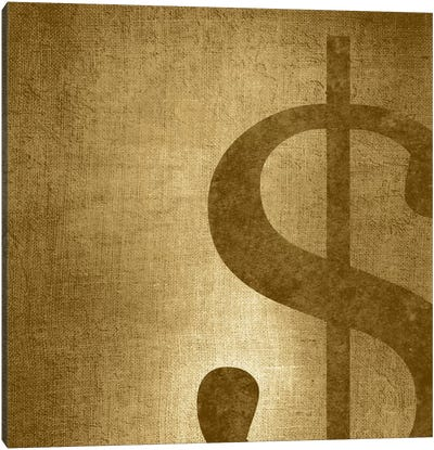 dollar sign-Gold Shimmer Canvas Print #TOA249