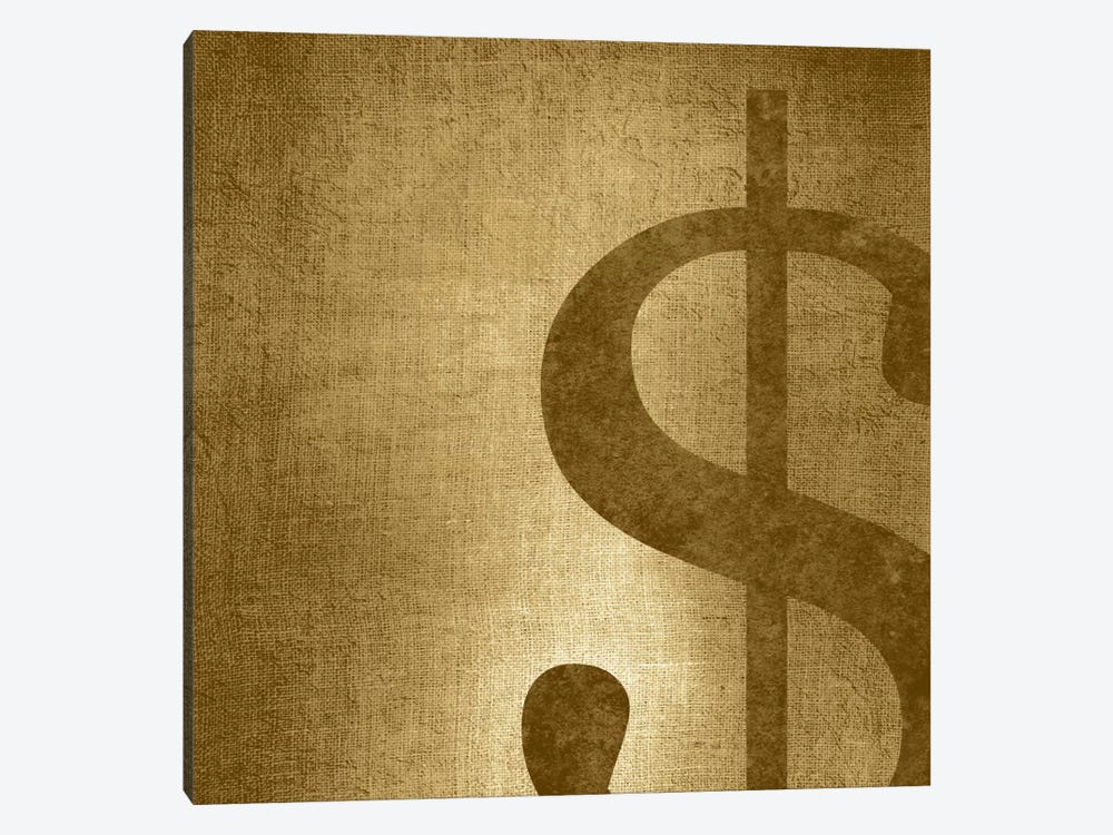 dollar sign-Gold Shimmer by 5by5collective 1-piece Canvas Art Print