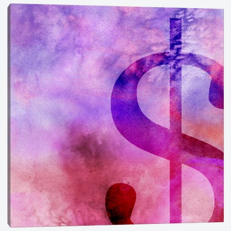 dollar sign-Purple Canvas Print #TOA253} by 5by5collective Art Print