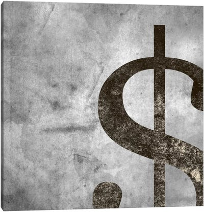 dollar sign-Silver Fading Canvas Art Print